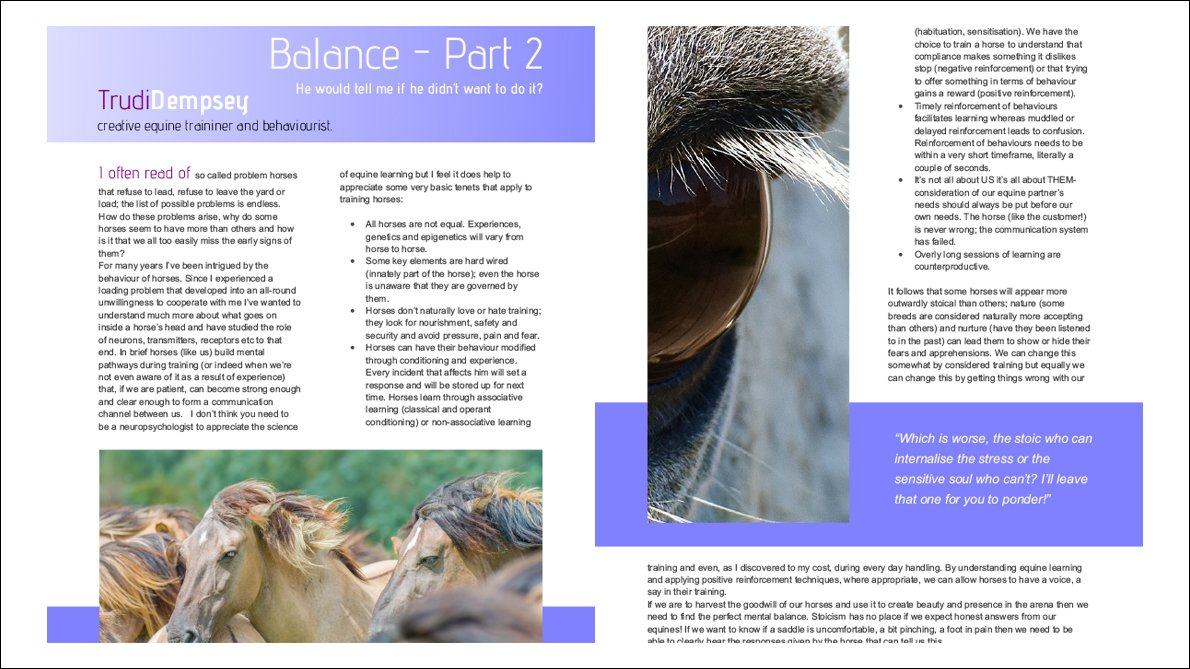 Balance in classical dressage Part 2