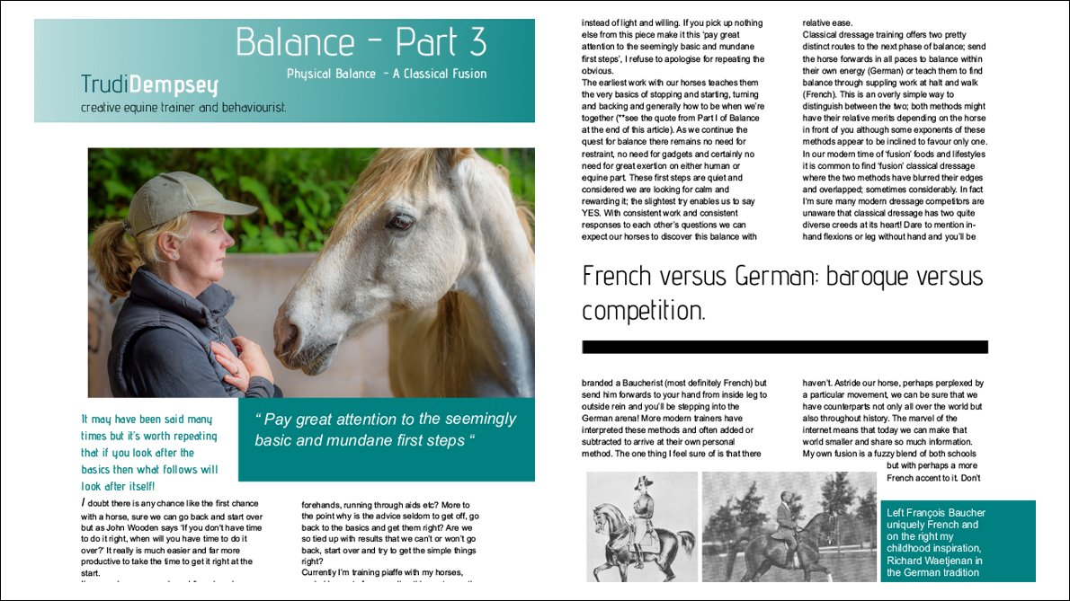 Balance in classical dressage Part 3